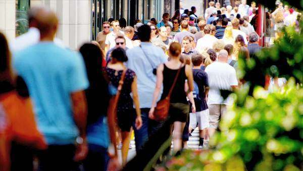America - August 22: Crowds multi ethnic people walking on city streets America, USA August 22, 2012 shot on RED EPIC Royalty-free stock video
