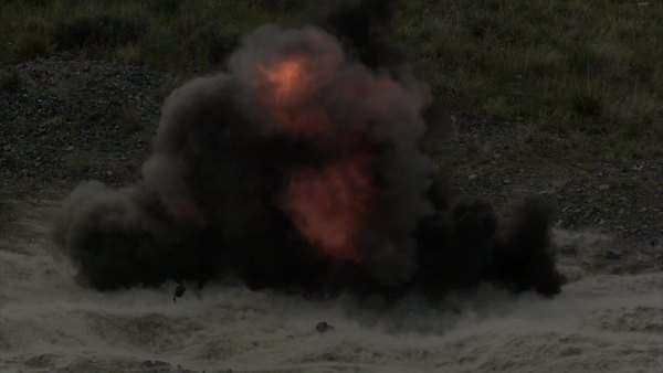 Fiery explosion in slow motion at blasting area. Green Beret United States Army Special Forces. Royalty-free stock video