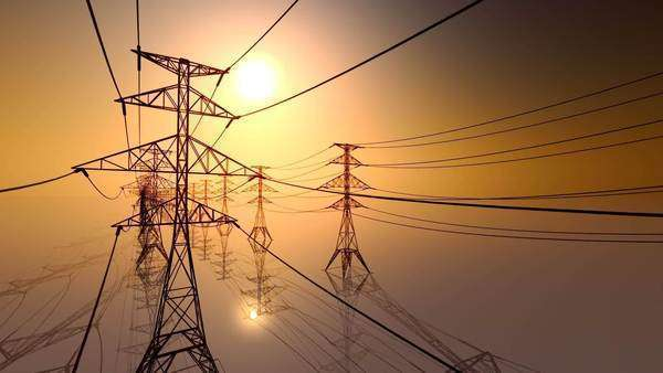 CG HD loopable animation of electricity pylons and lines Royalty-free stock video