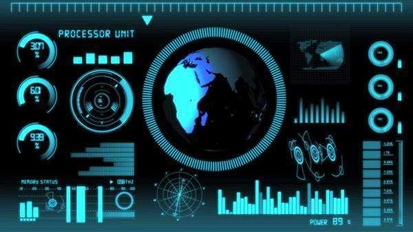 futuristic technology interface computer data screen with globe