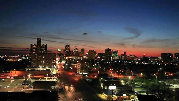 Timelapse late evening view of Detroit, Michigan. Royalty-free stock video
