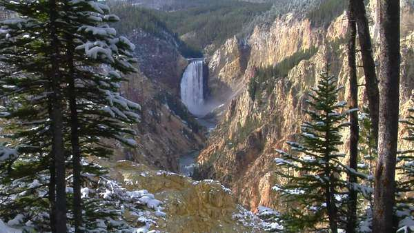 A waterfall cascades down the Grand Canyon of Yellowstone National Park. Royalty-free stock video