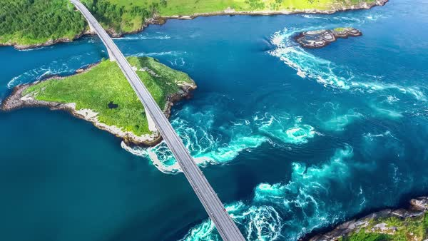 Whirlpools Of The Maelstrom Of Saltstraumen Nordland Norway Aerial View Beautiful Nature Saltstraumen Is A Small Strait With One Of The Strongest Tidal