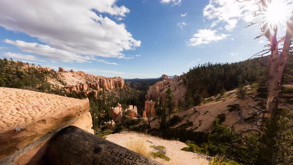 Clouds roll over Bryce Canyon as seen from a lookout in the afternoon sun. Royalty-free stock video