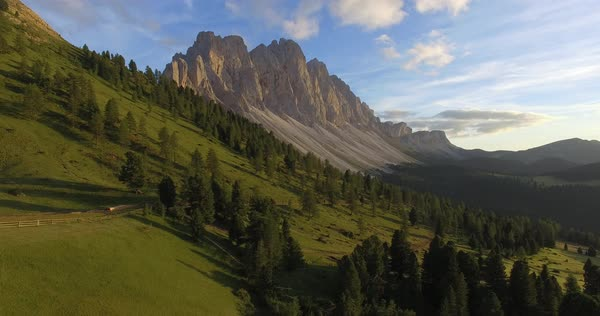 Aerial shot of a slope in Val di Funes, Italy Royalty-free stock video