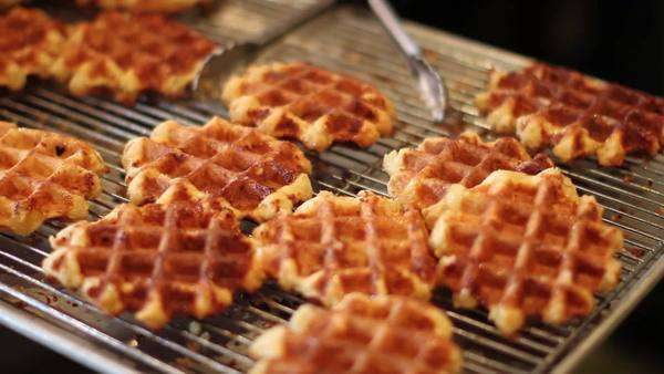 Close-up shot of waffels on a cooling rack Royalty-free stock video