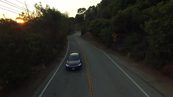 Medium shot over road in Hollywood Hills CA, USA Royalty-free stock video