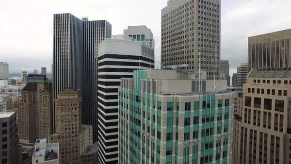 Medium shot of skyscrapers in downtown San Francisco CA, USA Royalty-free stock video