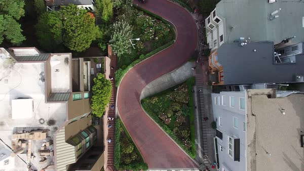Medium shot of Lombard Street in San Francisco CA, USA Royalty-free stock video