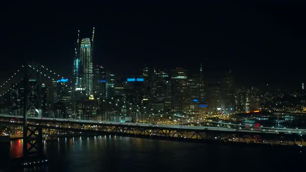 Aerial shot of San Francisco at night Royalty-free stock video
