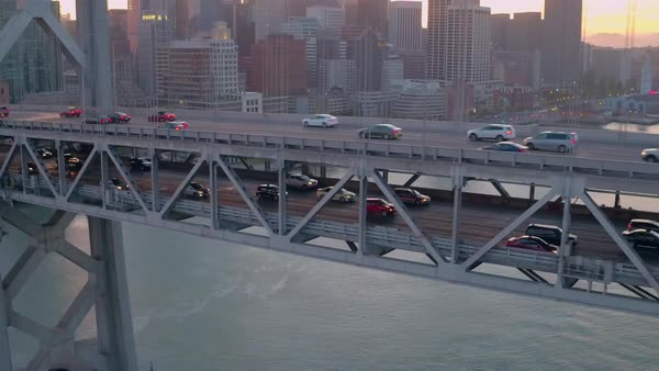 Aerial shot of traffic on San Francisco-Oakland Bay Bridge at sunset Royalty-free stock video