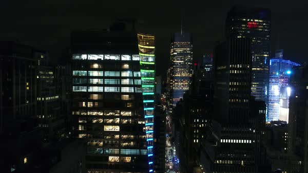 Aerial shot of Manhattan high-rise at night Royalty-free stock video