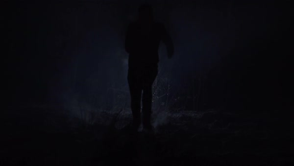 Silhouette of a man running through the forest at winter night Royalty-free stock video