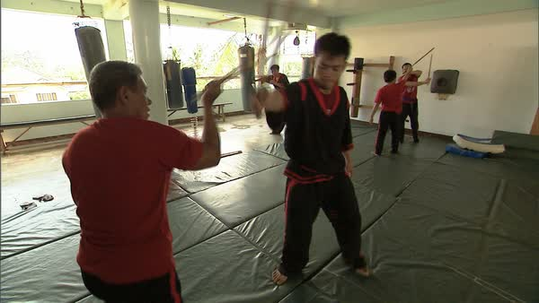 Hand-held shot of a man teaching a boy martial arts Rights-managed stock video