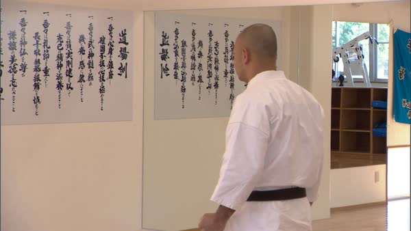 Hand-held shot of a karate fighter practicing in a dojo in Okinawa Rights-managed stock video