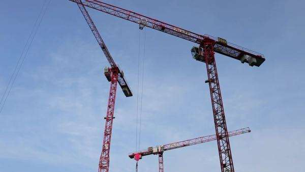 Construction cranes against the sky Rights-managed stock video
