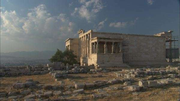 Long shot of Erechtheion in Athens Rights-managed stock video