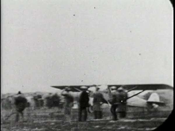 Archival footage of an early airplance taking flight Rights-managed stock video