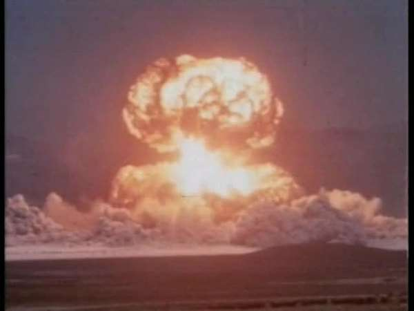Hand-held shot of a nuclear bomb test Rights-managed stock video