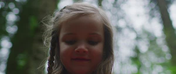 Portrait of a small girl having fun in nature Royalty-free stock video