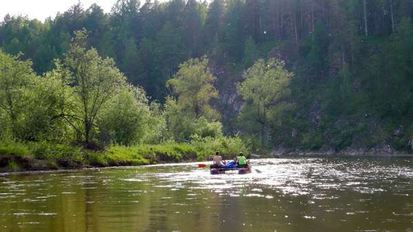 Rafting on the catamaran. River Serga, Urals, Russia. Royalty-free stock video