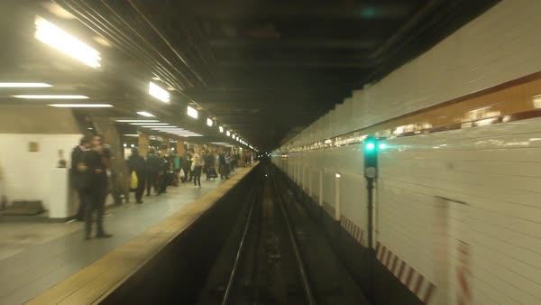 Subway train arriving at subway station Royalty-free stock video