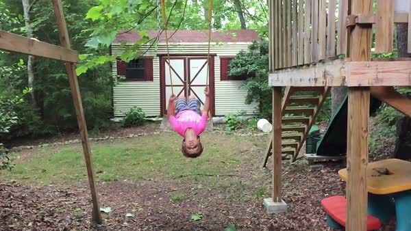 Boy on swing in slow motion Royalty-free stock video