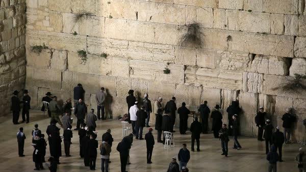 People praying at the Wailing Wall, Old City, Jerusalem, Israel, 2011   stock footage