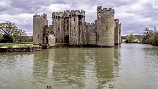 Timelapse View Of A Moated Medieval Castle In Southern England
