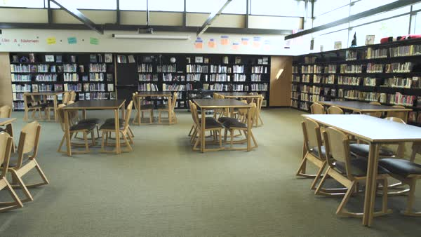 Wide shot of high school library stock footage