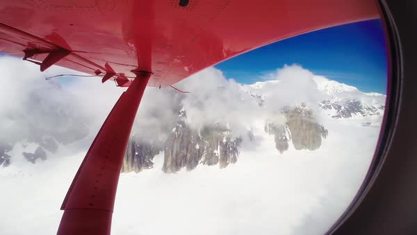 Point of view shot of snow covered mountains from a light aircraft Royalty-free stock video