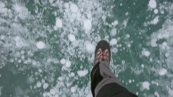 Point-of-view shot of a person walking on a frozen lake Royalty-free stock video