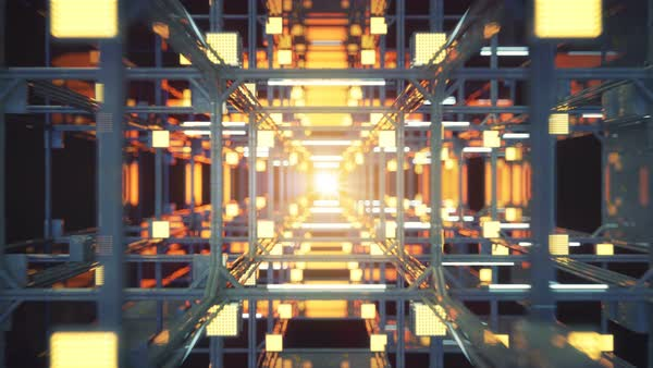 Technology tunnel with metallic structure  Abstract sci-fi 3D render   Seamless loop animation stock footage