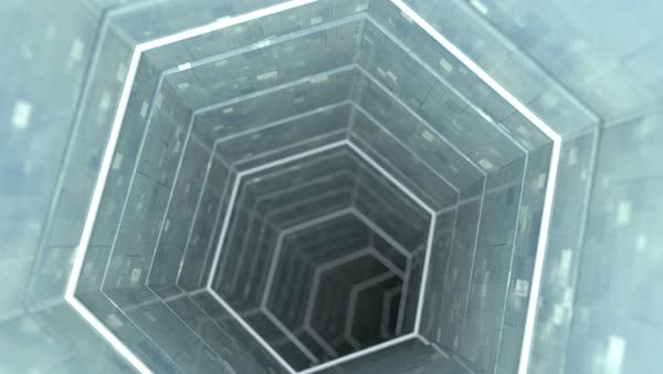 Technology tunnel with metallic walls  Abstract sci-fi 3D render  Seamless  loop animation stock footage