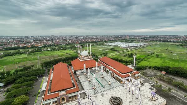 Timelapse Aerial Move Above Mosque Masjid Agung Jawa Tengah