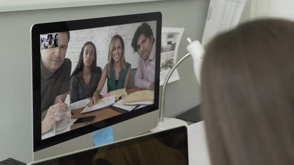 Hand-held shot of office workers having a video call conference Royalty-free stock video