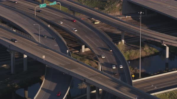 Aerial shot of vehicles driving on an elevated road, Salt Lake City, Utah,  United States of America stock footage