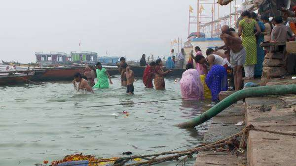 0ffb1a36c70 Small crowd of people bathing in the Ganges river. - Stock Video ...