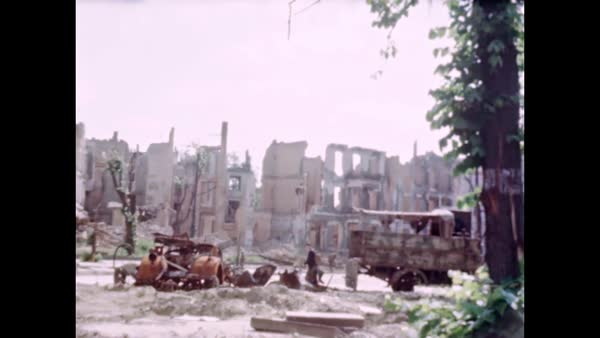 World War two color  Bomb Damage in Berlin after World War 2 ends  stock  footage