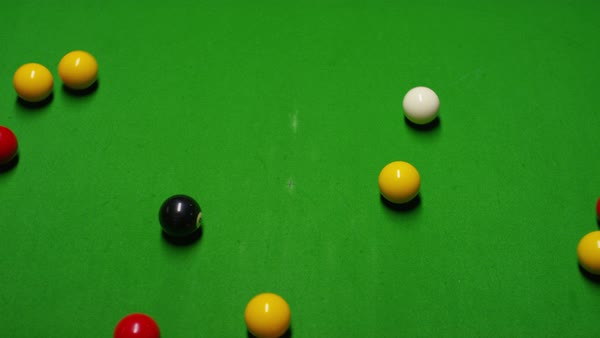 Coloured Billiard Balls After A Break On A Pool Table, Overhead Shot