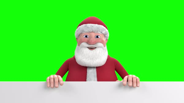 A Cartoon Santa Claus Stands Up From Behind A White Banner At The Bottom Of The Frame And Waves Into The Camera Replaceable Green Screen Background