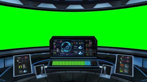 Loopable Animation Of Spaceship S Captain S Bridge With