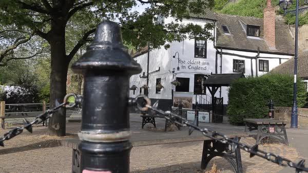 Ye Olde Trip to Jerusalem, (Oldest Inn in England), Nottingham,  Nottinghamshire, England, UK, Europe stock footage