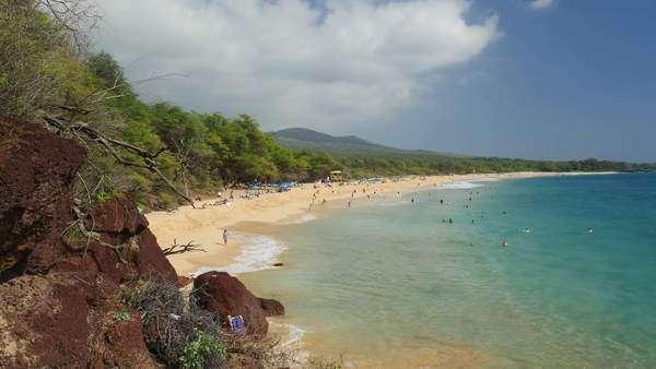 Makena Beach State Park Maui Hawaii Stock Footage