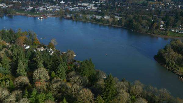 Aerial shot of Willamette River near Portland, Oregon Royalty-free stock video