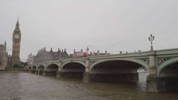 Wide-angle shot of Westminster Bridge Royalty-free stock video