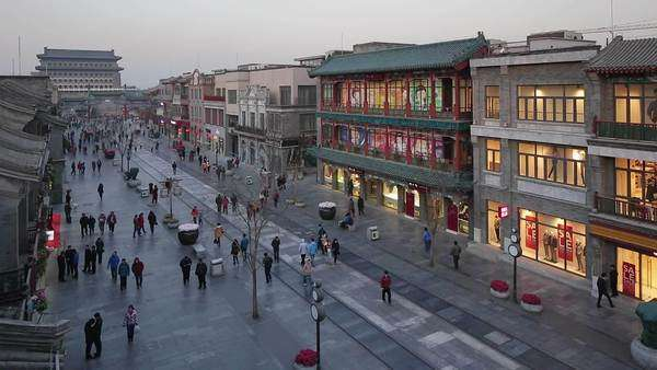 Reconstructed traditional pedestrian street built for tourists at Qianmen in Beijing, China Royalty-free stock video