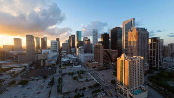Houston, Texas, USA, city skyline, day to night Royalty-free stock video