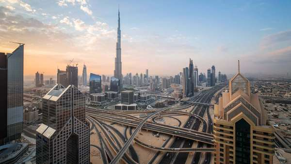 The Burj Khalifa Dubai, elevated view across Sheikh Zayed Road and Financial Centre Road Interchange ,Downtown Dubai, Dubai, UAE - timelapse Royalty-free stock video
