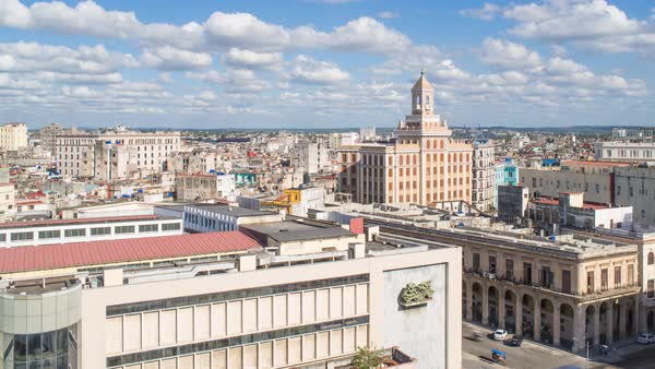Architecture from an elevated view near the Malecon, Havana, Cuba Royalty-free stock video